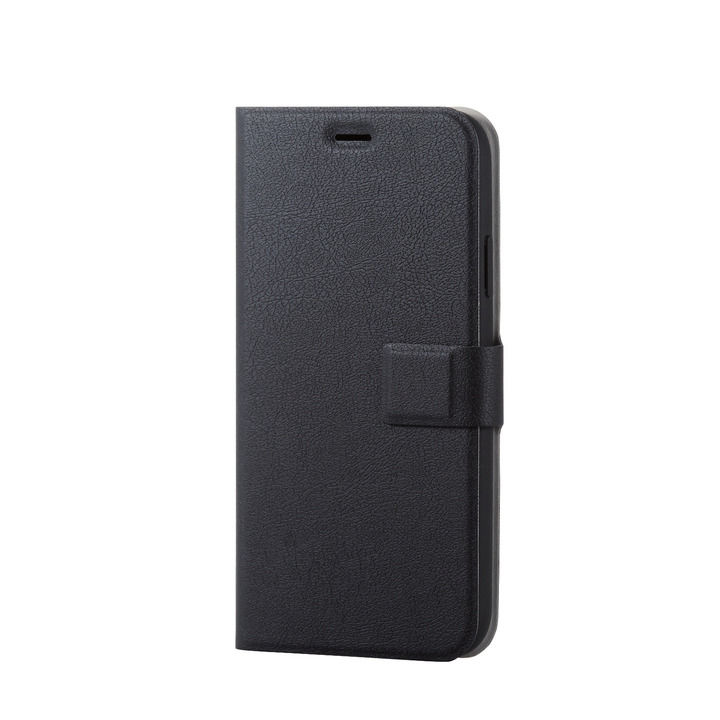 iPhone XR ケース ソフトレザー薄型手帳型ケース 磁石付 ブラック スナップ iPhone XR_0