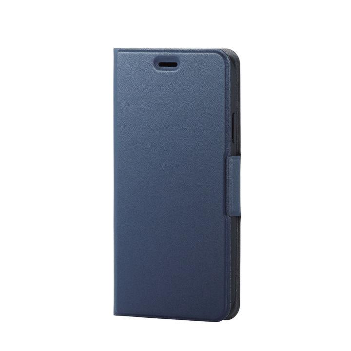 iPhone XR ケース ソフトレザー薄型手帳型ケース 磁石付 ネイビー iPhone XR_0