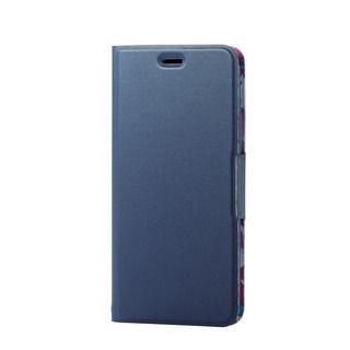 iPhone XR ケース ソフトレザー薄型手帳型ケース 磁石付 フラワー/ネイビー iPhone XR