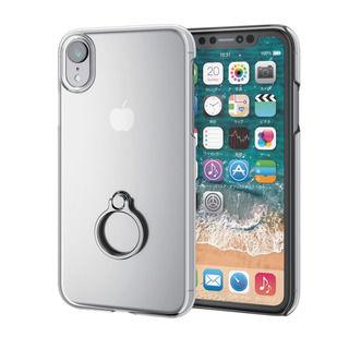 【iPhone XRケース】シェルカバー リング付ケース シルバー iPhone XR