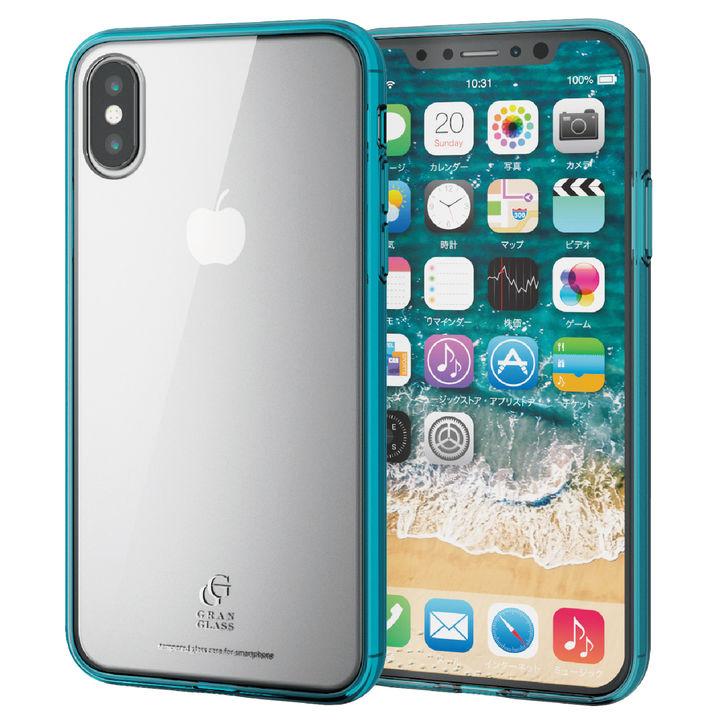 【iPhone XSケース】ハイブリッド強化ガラスケース スタンダード クリアブルー iPhone XS_0