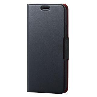 iPhone XS ケース ソフトレザー薄型手帳型ケース 磁石付 ブラック iPhone XS