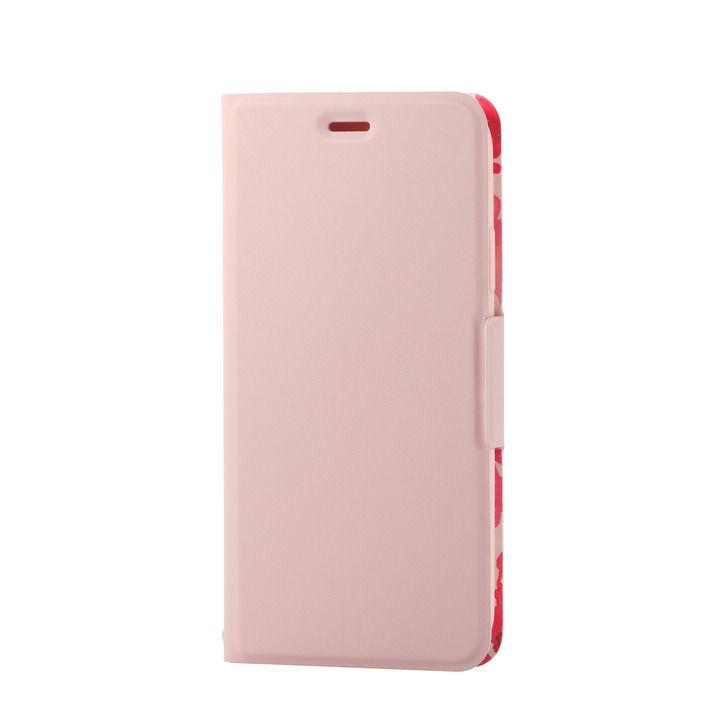 iPhone XR ケース ソフトレザー薄型手帳型ケース 磁石付 フラワー/ライトピンク iPhone XR_0