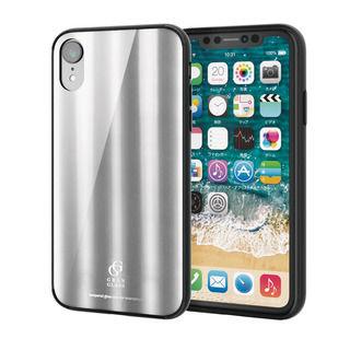 iPhone XR ケース ハイブリッド強化ガラスケース 背面カラー メタリック調シルバー iPhone XR