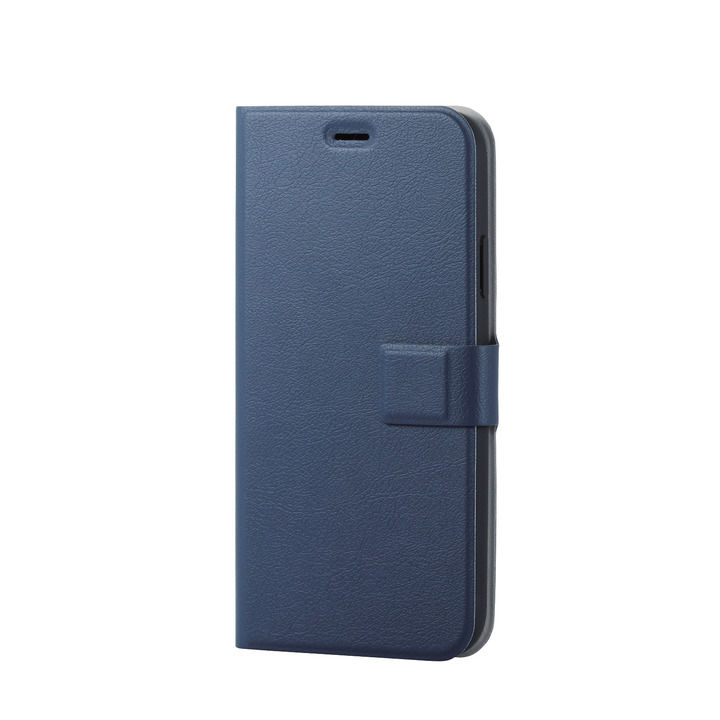 iPhone XR ケース ソフトレザー薄型手帳型ケース 磁石付 ネイビー スナップ iPhone XR_0