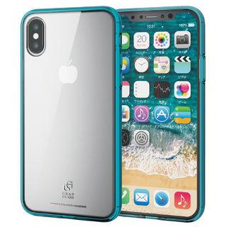 iPhone XS ケース ハイブリッド強化ガラスケース スタンダード クリアブルー iPhone XS