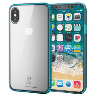 【iPhone XSケース】ハイブリッド強化ガラスケース スタンダード クリアブルー iPhone XS
