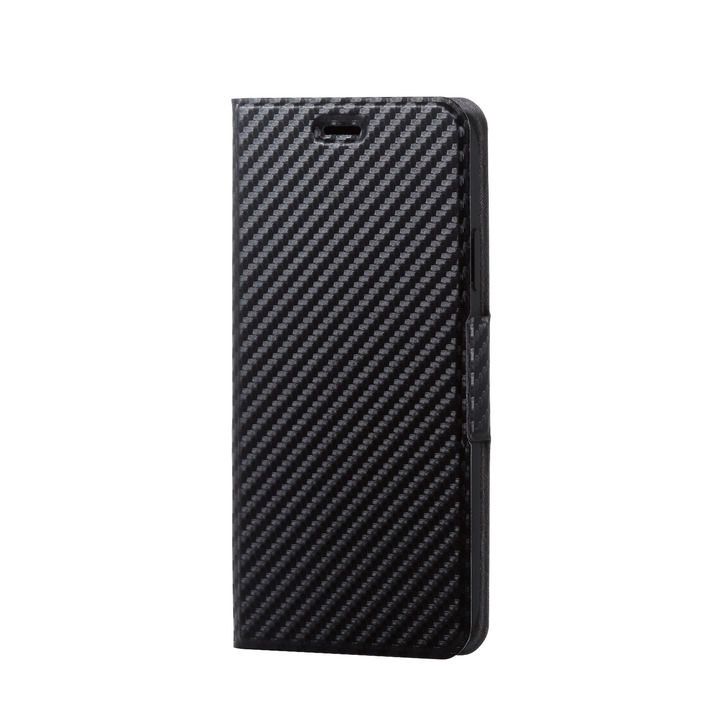 iPhone XR ケース ソフトレザー薄型手帳型ケース 磁石付 カーボン調 ブラック iPhone XR_0