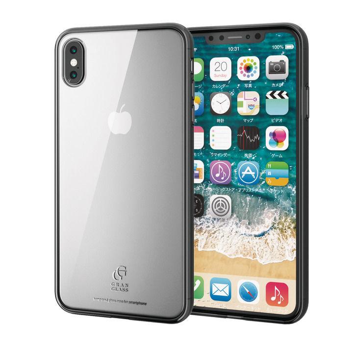 iPhone XS Max ケース ハイブリッド強化ガラスケース スタンダード クリアブラック iPhone XS Max_0