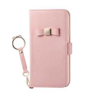 iPhone XR ケース ソフトレザー手帳型ケース リボンリングストラップ付 ピンク iPhone XR