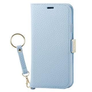 iPhone XS ケース ソフトレザー手帳型ケース 磁石 ストラップ付 ブルー iPhone XS