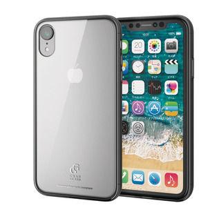 iPhone XR ケース ハイブリッド強化ガラスケース スタンダード クリアブラック iPhone XR