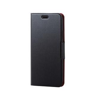【iPhone XRケース】ソフトレザー薄型手帳型ケース 磁石付 ブラック iPhone XR【9月下旬】