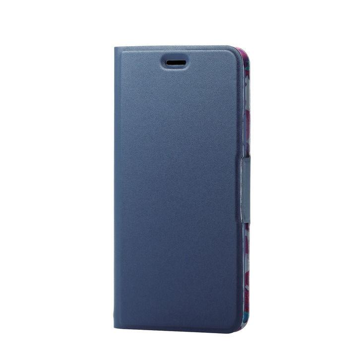iPhone XR ケース ソフトレザー薄型手帳型ケース 磁石付 フラワー/ネイビー iPhone XR_0