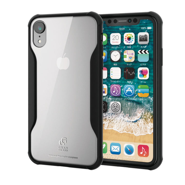 iPhone XR ケース ハイブリッド強化ガラスケース 耐衝撃設計 ブラック iPhone XR_0