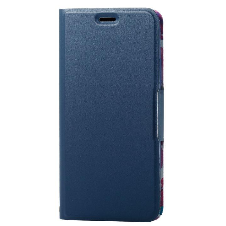 iPhone XS ケース ソフトレザー薄型手帳型ケース 磁石付 フラワー/ネイビー iPhone XS_0