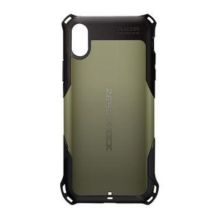 iPhone XR ケース ZEROSHOCK 耐衝撃吸収ケース スタンダード カーキ iPhone XR