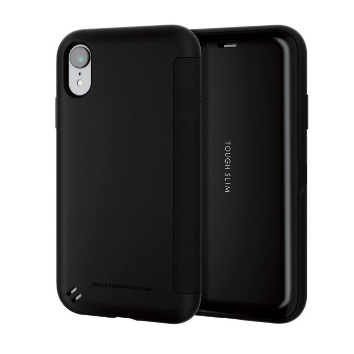 iPhone XR ケース TOUGH SLIM シェルフラップ 手帳型ケース ブラック iPhone XR_0