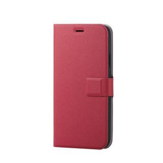 iPhone XR ケース ソフトレザー薄型手帳型ケース 磁石付 レッド スナップ iPhone XR