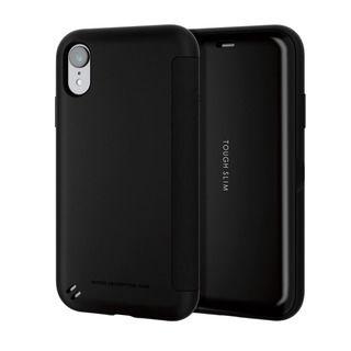 iPhone XR ケース TOUGH SLIM シェルフラップ 手帳型ケース ブラック iPhone XR