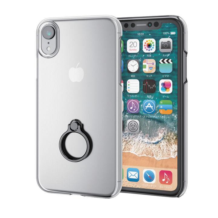 【iPhone XRケース】シェルカバー リング付ケース ブラック iPhone XR_0