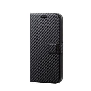 iPhone XR ケース ソフトレザー薄型手帳型ケース 磁石付 カーボン調 ブラック スナップ iPhone XR