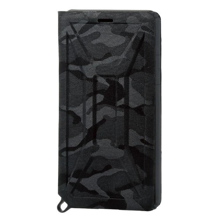 iPhone XS ケース ZEROSHOCK 耐衝撃吸収手帳型ケース カモフラ ブラック iPhone XS_0
