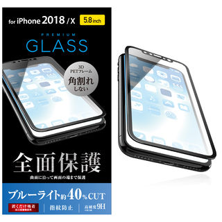 iPhone XS/X フィルム フルカバー強化ガラス フレーム付 ブルーライトカット/ブラック iPhone XS/X