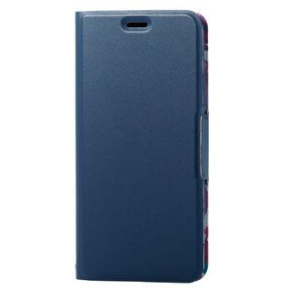 iPhone XS ケース ソフトレザー薄型手帳型ケース 磁石付 フラワー/ネイビー iPhone XS