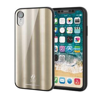 iPhone XR ケース ハイブリッド強化ガラスケース 背面カラー メタリック調ゴールド iPhone XR