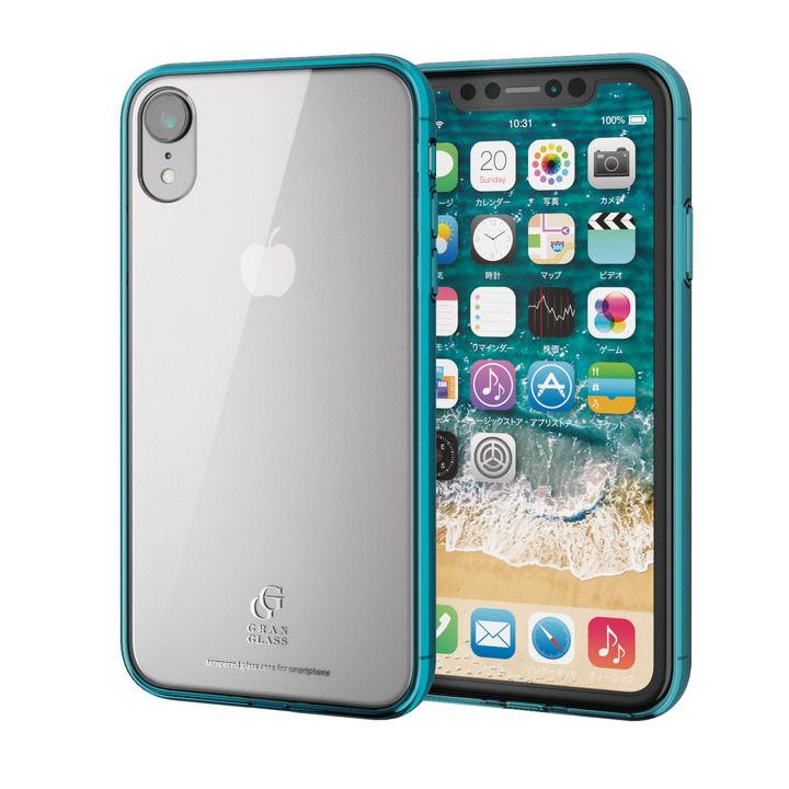iPhone XR ケース ハイブリッド強化ガラスケース スタンダード クリアブルー iPhone XR_0