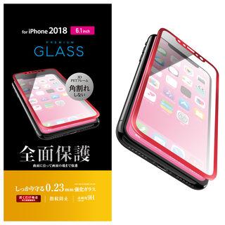 iPhone XR フィルム フルカバー強化ガラス フレーム付 レッド iPhone XR