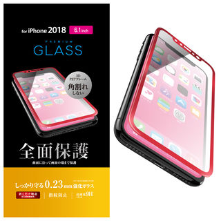 【iPhone XRフィルム】フルカバー強化ガラス フレーム付 レッド iPhone XR