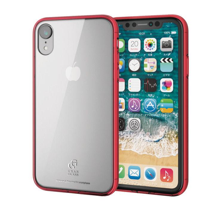 iPhone XR ケース ハイブリッド強化ガラスケース スタンダード クリアレッド iPhone XR_0