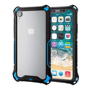 【iPhone XRケース】ZEROSHOCK 耐衝撃吸収バンパー ブルー iPhone XR