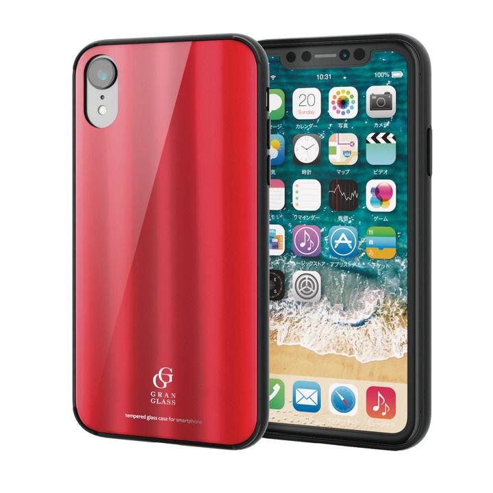 iPhone XR ケース ハイブリッド強化ガラスケース 背面カラー メタリック調レッド iPhone XR_0