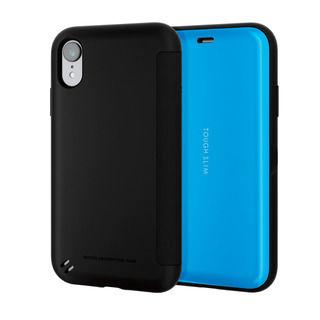 iPhone XR ケース TOUGH SLIM シェルフラップ 手帳型ケース ブルー iPhone XR