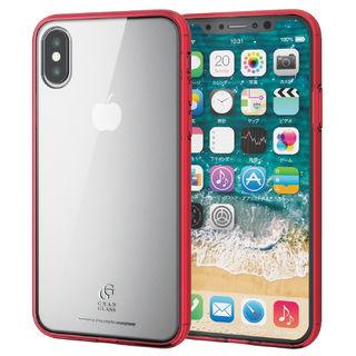 ハイブリッド強化ガラスケース スタンダード クリアレッド iPhone XS【9月下旬】