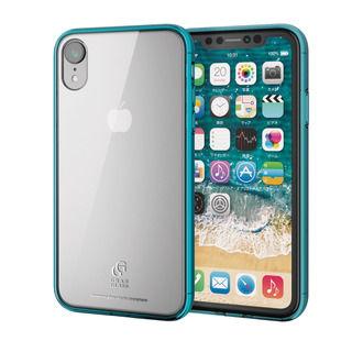 iPhone XR ケース ハイブリッド強化ガラスケース スタンダード クリアブルー iPhone XR