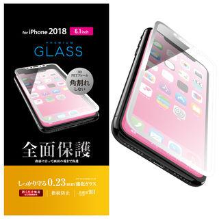 iPhone XR フィルム フルカバー強化ガラス フレーム付 ホワイト iPhone XR