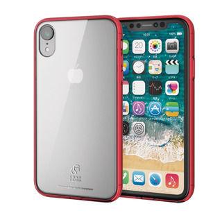 【iPhone XRケース】ハイブリッド強化ガラスケース スタンダード クリアレッド iPhone XR【9月下旬】