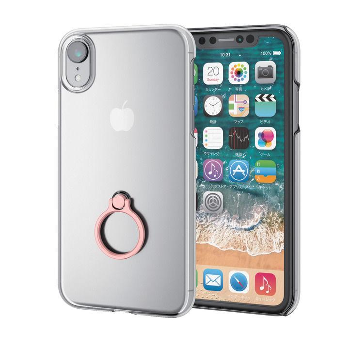 iPhone XR ケース シェルカバー リング付ケース ピンク iPhone XR_0