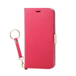 iPhone XR ケース ソフトレザー手帳型ケース 磁石 ストラップ付 ディープピンク iPhone XR