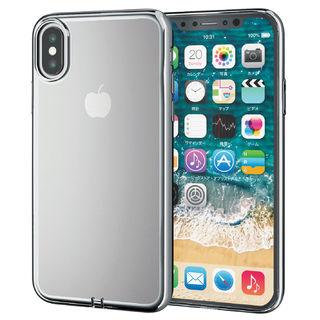 iPhone XS ケース サイドメッキソフトケース シルバー iPhone XS