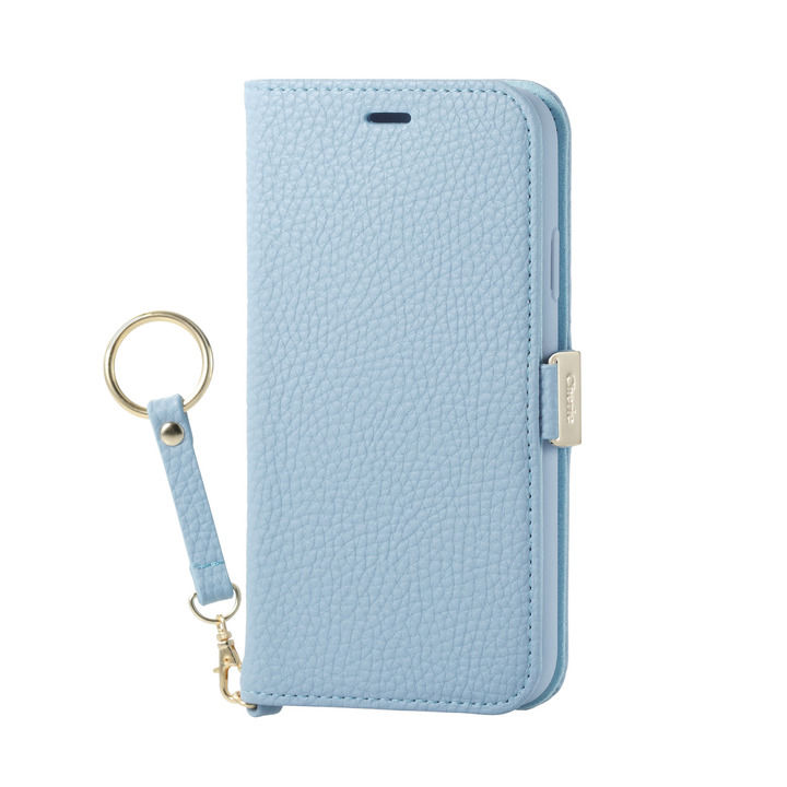 iPhone XR ケース ソフトレザー手帳型ケース 磁石 ストラップ付 ブルー iPhone XR_0
