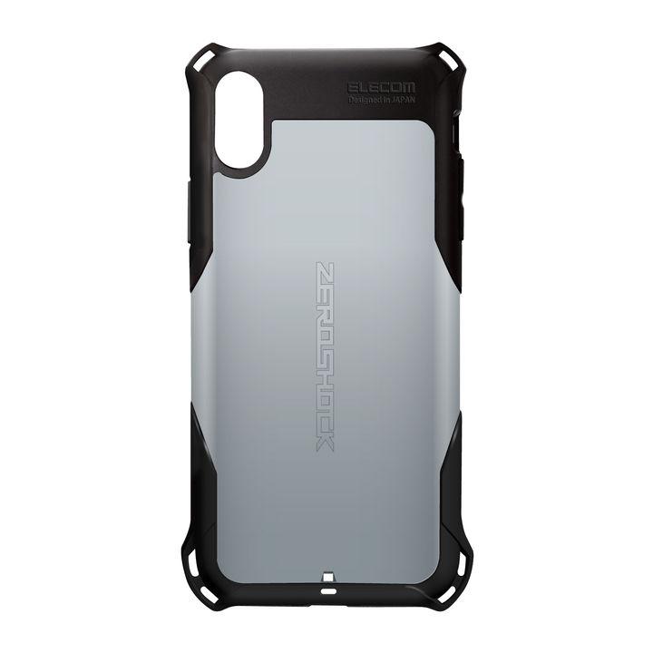 【iPhone XRケース】ZEROSHOCK 耐衝撃吸収ケース スタンダード シルバー iPhone XR_0