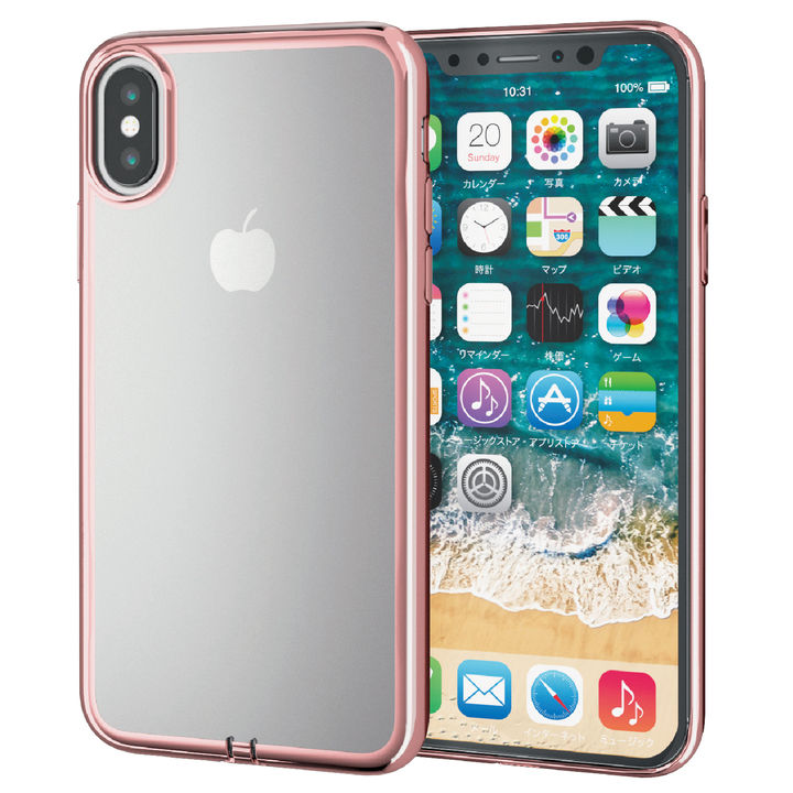 【iPhone XSケース】サイドメッキソフトケース ローズゴールド iPhone XS_0