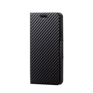 iPhone XR ケース ソフトレザー薄型手帳型ケース 磁石付 カーボン調 ブラック iPhone XR