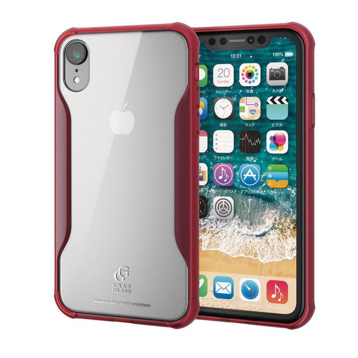 iPhone XR ケース ハイブリッド強化ガラスケース 耐衝撃設計 クリアレッド iPhone XR_0