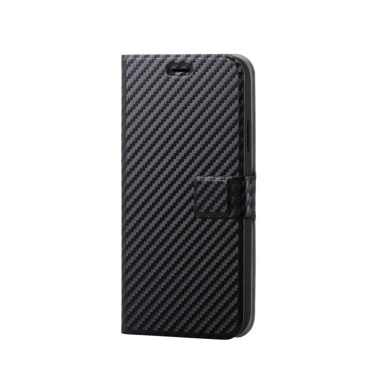 iPhone XR ケース ソフトレザー薄型手帳型ケース 磁石付 カーボン調 ブラック スナップ iPhone XR_0